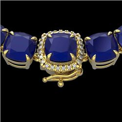 116 CTW Sapphire & VS/SI Diamond Halo Micro Necklace 14K Yellow Gold - REF-467R3K - 23345
