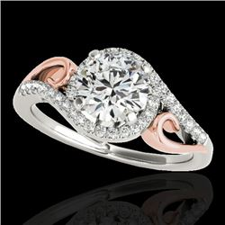 1.25 CTW H-SI/I Certified Diamond Solitaire Halo Ring Two Tone 10K White & Rose Gold - REF-155K5R -