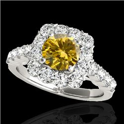 2.5 CTW Certified Si Fancy Intense Yellow Diamond Solitaire Halo Ring 10K White Gold - REF-212Y8N -