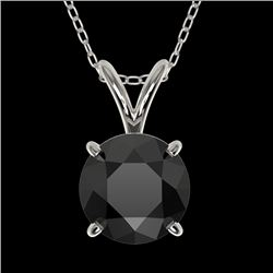 1.25 CTW Fancy Black VS Diamond Solitaire Necklace 10K White Gold - REF-35Y8N - 33204
