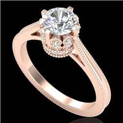 1.14 CTW VS/SI Diamond Solitaire Art Deco Ring 18K Rose Gold - REF-220K5R - 36828