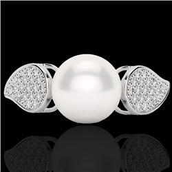 0.27 CTW Micro Pave VS/SI Diamond Certified & Pearl Designer Ring 18K White Gold - REF-45M3F - 22643