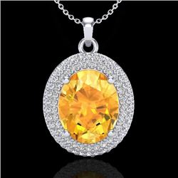 4 CTW Citrine & Micro Pave VS/SI Diamond Certified Necklace 18K White Gold - REF-92R4K - 20560