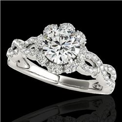 1.69 CTW H-SI/I Certified Diamond Solitaire Halo Ring 10K White Gold - REF-179W8H - 34105