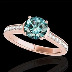 1.5 CTW SI Certified Fancy Blue Diamond Solitaire Ring 10K Rose Gold - REF-174X5T - 34931