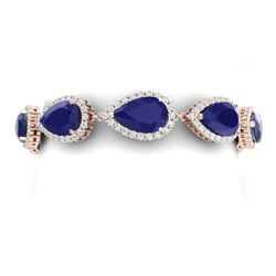 42 CTW Royalty Sapphire & VS Diamond Bracelet 18K Rose Gold - REF-527X3T - 38863