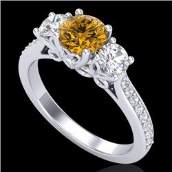 1.67 CTW Intense Fancy Yellow Diamond Art Deco 3 Stone Ring 18K White Gold - REF-200H2W - 37812
