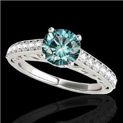 1.65 CTW SI Certified Fancy Blue Diamond Solitaire Ring 10K White Gold - REF-203R6K - 35028