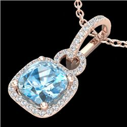 3.50 CTW Topaz & Micro VS/SI Diamond Certified Necklace 14K Rose Gold - REF-50T8X - 22993