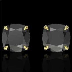 6 CTW Cushion Cut Black VS/SI Diamond Designer Stud Earrings 18K Yellow Gold - REF-141N8Y - 21736