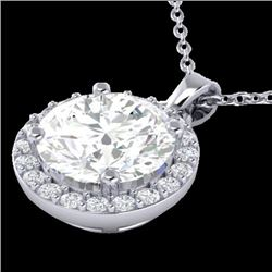 1.75 CTW Halo VS/SI Diamond Certified Micro Pave Necklace 18K White Gold - REF-477W3H - 21568