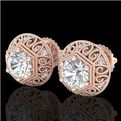 1.31 CTW VS/SI Diamond Solitaire Art Deco Stud Earrings 18K Rose Gold - REF-236T4X - 36921