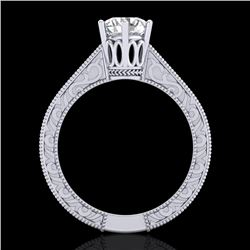 1 CTW VS/SI Diamond Solitaire Art Deco Ring 18K White Gold - REF-330W2H - 36926