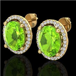 5 CTW Peridot & Micro Pave VS/SI Diamond Certified Earrings Halo 18K Yellow Gold - REF-82N2Y - 21061