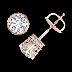 1.75 CTW VS/SI Diamond Solitaire Art Deco Stud Earrings 18K Rose Gold - REF-249M3F - 36834