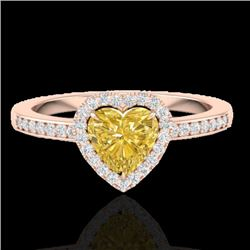 1 CTW Citrine & Micro Pave Ring Heart Halo 14K Rose Gold - REF-34F9M - 21402