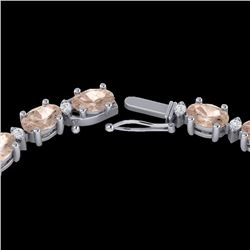 25 CTW Morganite & VS/SI Diamond Certified Eternity Tennis Necklace 10K White Gold - REF-284R5K - 21