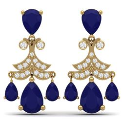11.97 CTW Royalty Sapphire & VS Diamond Earrings 18K Yellow Gold - REF-170X9T - 38723