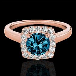 1.37 CTW SI Certified Fancy Blue Diamond Solitaire Halo Ring 10K Rose Gold - REF-167K3R - 33415