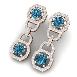 4 CTW Si/I Fancy Blue And White Diamond Earrings 18K Rose Gold - REF-271Y4N - 40134