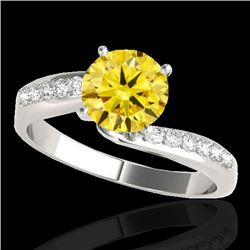 1.15 CTW Certified Si Intense Yellow Diamond Bypass Solitaire Ring 10K White Gold - REF-149N3Y - 350