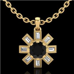 1.33 CTW Fancy Black Diamond Solitaire Art Deco Stud Necklace 18K Yellow Gold - REF-100M2F - 37872