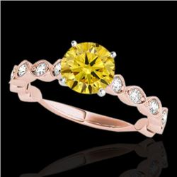 1.5 CTW Certified Si Fancy Intense Yellow Diamond Solitaire Ring 10K Rose Gold - REF-163K6R - 34888