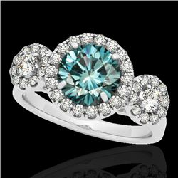 1.75 CTW SI Certified Fancy Blue Diamond Solitaire Halo Ring 10K White Gold - REF-180N2Y - 33287