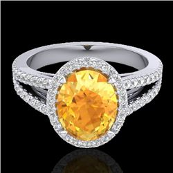 3 CTW Citrine & Micro VS/SI Diamond Halo Solitaire Ring 18K White Gold - REF-67W3H - 20936