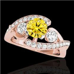 2.01 CTW Certified Si Intense Yellow Diamond Bypass Solitaire Ring 10K Rose Gold - REF-254K5R - 3505