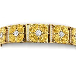 34.18 CTW Royalty Canary Citrine & VS Diamond Bracelet 18K Yellow Gold - REF-536K4R - 39029