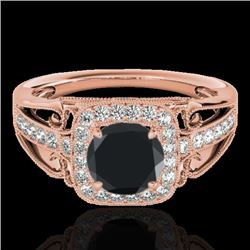 1.3 CTW Certified Vs Black Diamond Solitaire Halo Ring 10K Rose Gold - REF-66X4T - 33773