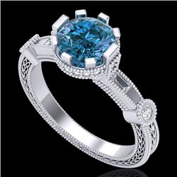 1.71 CTW Fancy Intense Blue Diamond Solitaire Art Deco Ring 18K White Gold - REF-263W6H - 37859