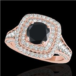 2 CTW Certified Vs Black Diamond Solitaire Halo Ring 10K Rose Gold - REF-114T5X - 33656