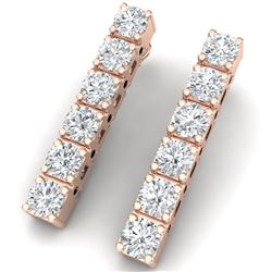 6 CTW Certified SI/I Diamond Earrings 18K Rose Gold - REF-450K2R - 39921