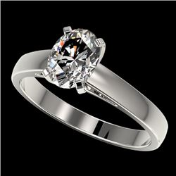 1.25 CTW Certified VS/SI Quality Oval Diamond Solitaire Ring 10K White Gold - REF-372F3M - 33010
