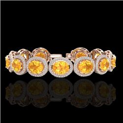 24 CTW Citrine & Micro Pave VS/SI Diamond Certified Bracelet 10K Rose Gold - REF-360F2M - 22684