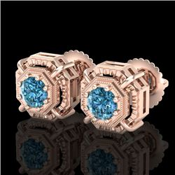 1.11 CTW Fancy Intense Blue Diamond Art Deco Stud Earrings 18K Rose Gold - REF-158F2M - 37454