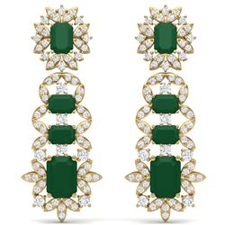 30.25 CTW Royalty Emerald & VS Diamond Earrings 18K Yellow Gold - REF-618F2M - 39407
