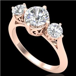 1.51 CTW VS/SI Diamond Solitaire Art Deco 3 Stone Ring 18K Rose Gold - REF-427X3T - 37236