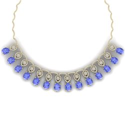 57.56 CTW Royalty Tanzanite & VS Diamond Necklace 18K Yellow Gold - REF-1597F3M - 39071