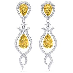 14.09 CTW Royalty Canary Citrine & VS Diamond Earrings 18K White Gold - REF-281F8M - 39522