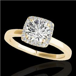 1.15 CTW H-SI/I Certified Diamond Solitaire Halo Ring 10K Yellow Gold - REF-163T5X - 33402