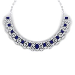 50.44 CTW Royalty Sapphire & VS Diamond Necklace 18K White Gold - REF-1654K5R - 39381