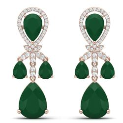 38.29 CTW Royalty Emerald & VS Diamond Earrings 18K Rose Gold - REF-454Y5N - 38605