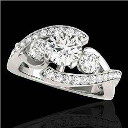 2.26 CTW H-SI/I Certified Diamond Bypass Solitaire Ring 10K White Gold - REF-390X4T - 35054