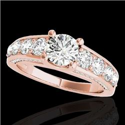 3.05 CTW H-SI/I Certified Diamond Solitaire Ring 10K Rose Gold - REF-434X5T - 35517