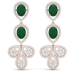 9.75 CTW Royalty Emerald & VS Diamond Earrings 18K Rose Gold - REF-309F3M - 39079