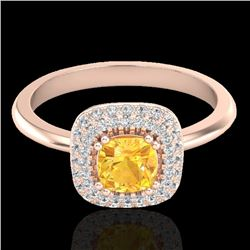 1.16 CTW Citrine & Micro VS/SI Diamond Ring Solitaire Double Halo 14K Rose Gold - REF-57T8X - 21025