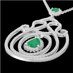3.20 CTW Emerald & Micro Pave VS/SI Diamond Heart Necklace 14K White Gold - REF-162K4R - 22437